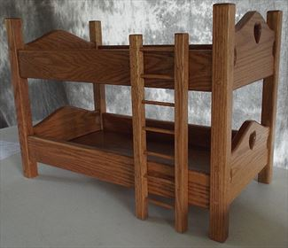 Amish Child Handmade All Wood DOLL BUNK BED - All Hardwood