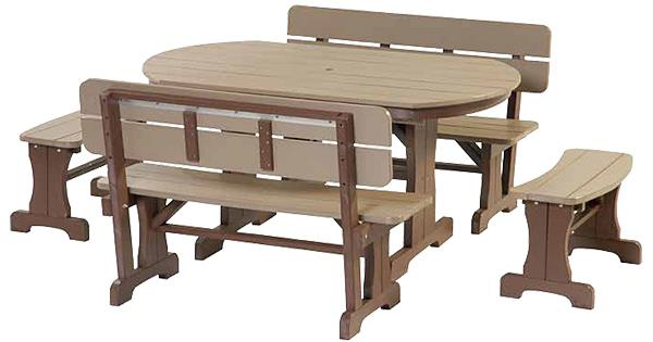 Amish OUTDOOR Furniture Poly Oval Dining Table Four curved benches
