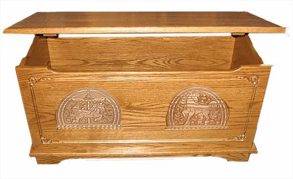 Wood Toy Box-Chest-Amish-for Girls-dlx-Carved