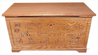 Wood Toy Box-Chest-Amish-for Boys-dlx carved