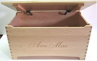 Amish Wooden Toy Box-Maple-Large-Shaker-dovetail-Safety hinges
