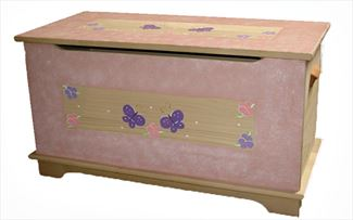 Amish Wooden Toy Box Chest-Butterfly Girls-Safety Hinges