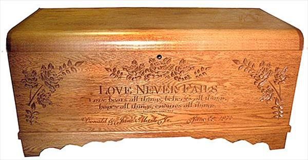 LARGE Hope Chest Oak or Cherry Amish, Love Never Fails, Cherry Finish