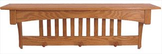 Amish Oak Mission Shelf with Pegs Furniture