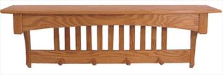 Amish Oak Mission 32 1/2 inchShelf with Pegs Furniture