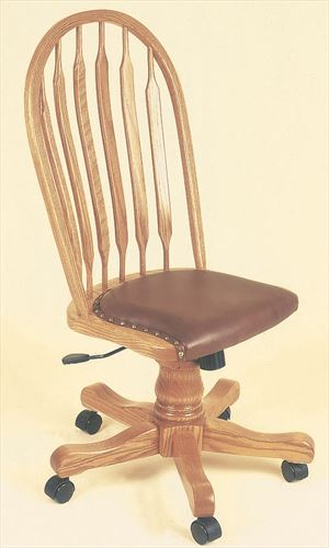 Amish Furniture Paddle or Feather or Bow Sheaf Back Oak Desk Chair Leather Seat Optional