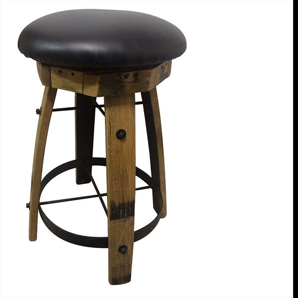 Rustic Barrel Swivel QSWO Furniture PADDED Bar Stool without Back