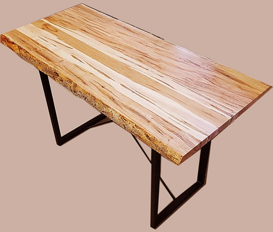 Reclaimed Live Edge Maple Coffee Table Bench Industrial: Amish Solid Wormy Maple Live Edge Coffee Table With Metal